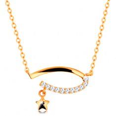 Zlatý 14K náhrdelník - neúplný ovál s čirými zirkony, hvězdička, jemný řetízek GG138.14