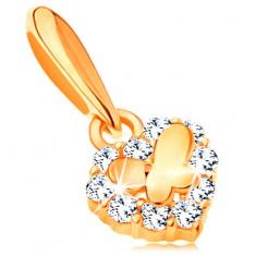Zlatý přívěsek 585 - malé blýskavé srdíčko se zirkony a lesklý motýlek GG119.01