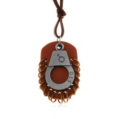 Nastavitelný kožený náhrdelník - pouta s číslem, hnědá známka s kruhy