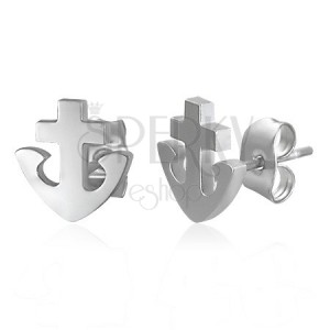Náušnice z oceli - kotva a kříž
