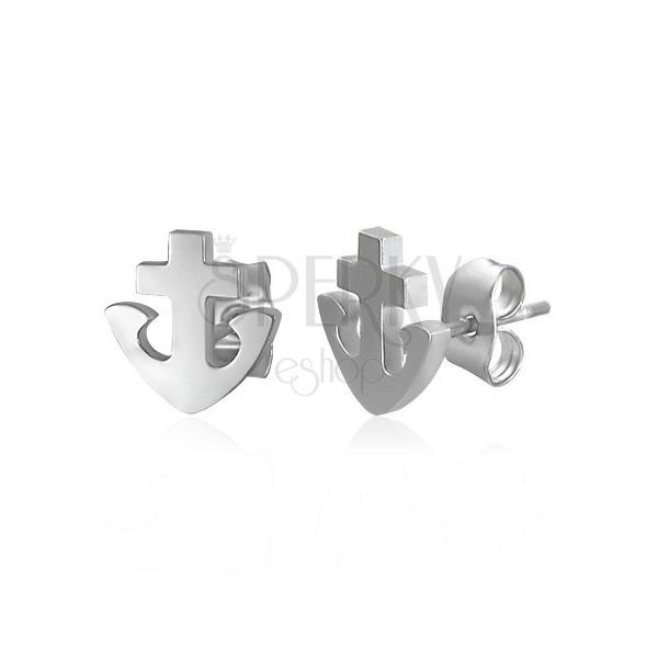 Náušnice z oceli 316L - kotva a kříž, stříbrná barva, puzetky