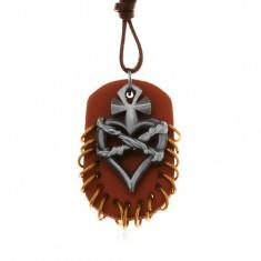 Náhrdelník z umělé kůže, přívěsky - hnědý ovál s kroužky, srdce s křížem a drátem
