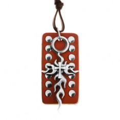 Kožený náhrdelník, nastavitelný - hnědá okovaná známka, Tribal kříž