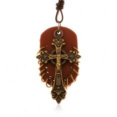 Kožený náhrdelník, přívěsky - hnědý ovál s malými kroužky a keltský kříž