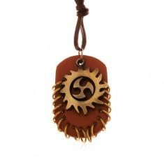 Náhrdelník ze syntetické kůže, přívěsky - Tribal kruh a hnědý ovál s kroužky
