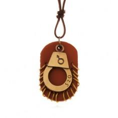 Kožený náhrdelník - nastavitelný, pouta s číslem, hnědá známka s kruhy