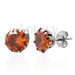 Náušnice z oceli s oranžovým zirkonem 7 mm