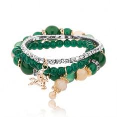 Korálkový multináramek - tři náramky, smaragdově zelená barva, čiré zirkony