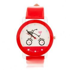 Červenobílé náramkové hodinky, velký ciferník s obrázkem bicyklu
