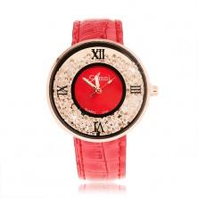 Náramkové hodinky - kulaté čiré zirkonky, lesklý tmavě růžový řemínek