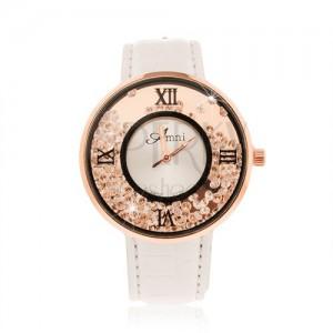 Náramkové hodinky - lesklý bílý řemínek c196c729924
