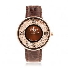 Náramkové hodinky - lesklý tmavohnědý řemínek, kulaté čiré zirkonky