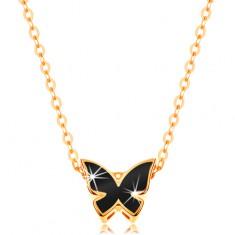 Zlatý 14K náhrdelník - lesklý řetízek, motýl zdobený glazurou černé barvy GG139.11 Šperky eshop
