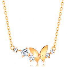 Zlatý náhrdelník 585 - jemný řetízek, motýl a oblouk z čirých třpytivých zirkonů GG138.13