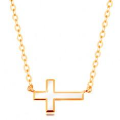 Náhrdelník ze žlutého zlata 585 - bílý glazovaný křížek, lesklý řetízek