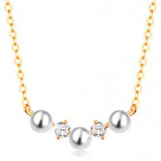 Zlatý náhrdelník 585 - jemný řetízek, oblouk z bílých perliček a čirých zirkonů GG139.08