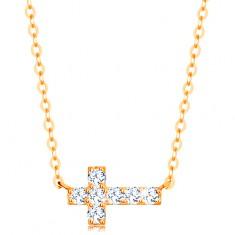 Náhrdelník ze žlutého 14K zlata - blýskavý zirkonový křížek, lesklý řetízek