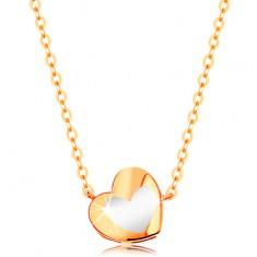 Zlatý náhrdelník 585 - lesklé srdíčko s bílou glazurou, řetízek GG139.10