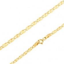 Náramek ve žlutém 14K zlatě - ploché podlouhlé články, paprskovité rýhy, 185 mm