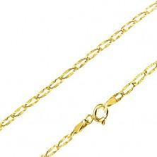 Řetízek ve žlutém 14K zlatě - podlouhlé články, paprskovité zářezy, 440 mm