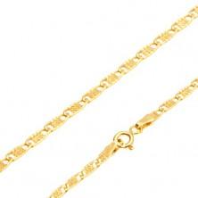 Řetízek ze žlutého 14K zlata - plochá podlouhlá očka s mřížkou, 445 mm