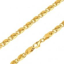 Blyštivý zlatý řetízek 585 - malé esíčkovité články, zarovnané, 495 mm
