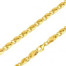Řetízek ve žlutém 14K zlatě - články s esíčkovým motivem, 435 mm