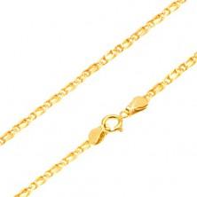 Řetízek ze žlutého 14K zlata - propojená oválná očka, zarovnaná, 495 mm