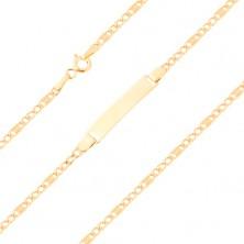 Náramek ze žlutého 9K zlata - tři očka a článek s mřížkou, 175 mm