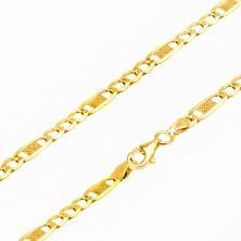 Řetízek ze žlutého 14K zlata - zploštělá očka, jeden článek s mřížkou, 545 mm