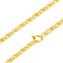 Zlatý řetízek 585 - ploché podlouhlé články s mřížkou, 500 mm
