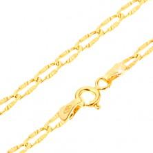 Lesklý zlatý náramek 585 - zploštělá očka s paprskovitými rýhami, 185 mm