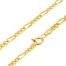 Řetízek ze žlutého 14K zlata - tři oválná očka, jedno delší zploštělé, 440 mm