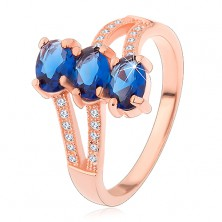 Stříbrný 925 prsten v měděném odstínu, tmavomodré broušené ovály, zvlněná ramena