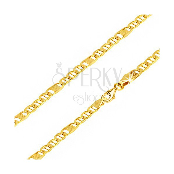 Řetízek ze žlutého 14K zlata, oválná očka s tyčinkou, článek s mřížkou, 450 mm