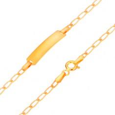 Zlatý 585 náramek s destičkou - lesklá plochá oválná očka, 175 mm