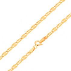 Náramek ve žlutém 14K zlatě, hladký a paprskovitý článek, 185 mm