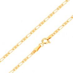 Řetízek ve žlutém 14K zlatě - oválné články - prázdné a s mřížkou, 440 mm