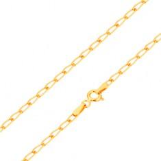 Náramek ze žlutého 14K zlata - lesklá ploská oválná očka, 190 mm