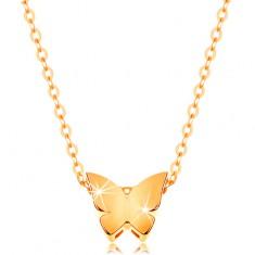 Zlatý 14K náhrdelník - lesklý řetízek, malý motýl s hladkým povrchem