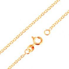 Zlatý 9K řetízek - malá plochá lesklá očka předělená tyčinkou, 500 mm
