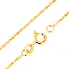 Řetízek ve žlutém zlatě 375 - propojená oválná očka, 500 mm