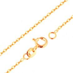Řetízek ze žlutého 9K zlata - hladká oválná očka, vzor Rolo, 500 mm