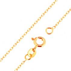 Řetízek ve žlutém 18K zlatě - hladká oválná očka, vzor Rolo, 500 mm