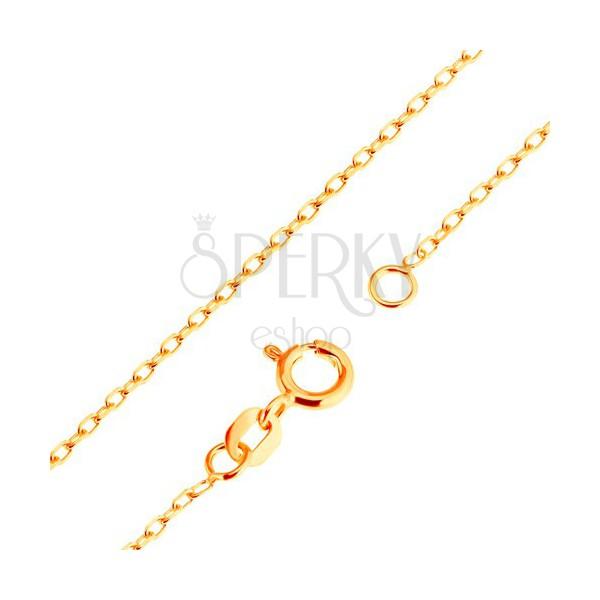 Zlatý 9K řetízek - hladká oválná očka, vzor Rolo, 500 mm