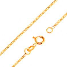 Blýskavý řetízek ze žlutého 18K zlata - blýskavá propojená oválná očka, 500 mm