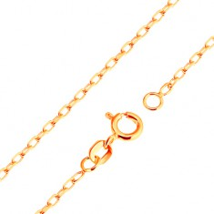 Řetízek ve žlutém 9K zlatě - hladká oválná očka, vzor Rolo, 500 mm