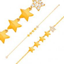Zlatý 14K náramek - linie pěti hvězdiček, řetízek z oválných oček, 180 mm