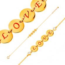 Náramek ve žlutém 14K zlatě - čtyři lesklé kruhy s nápisem LOVE, zirkony, 185 mm