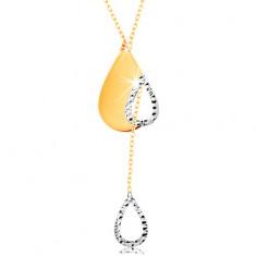 Zlatý 14K náhrdelník - jemný řetízek, slza s výřezem a visící obrys kapky
